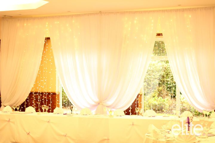 Window draping with fairylights, make your top table that ex...