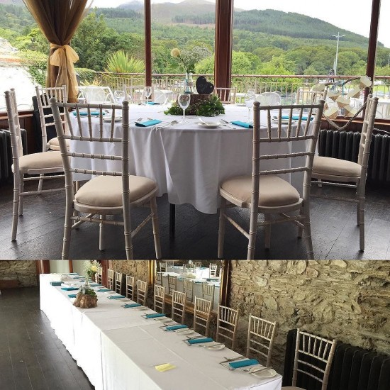Today's view for our limewash #chiavarichairs in #HughMcCanns  congratulations to all our special couples who got married this week. #weddings #weddingdecor