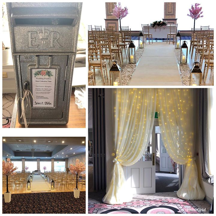 Beautiful pretty decor. New glitter silver postbox, ceremony...