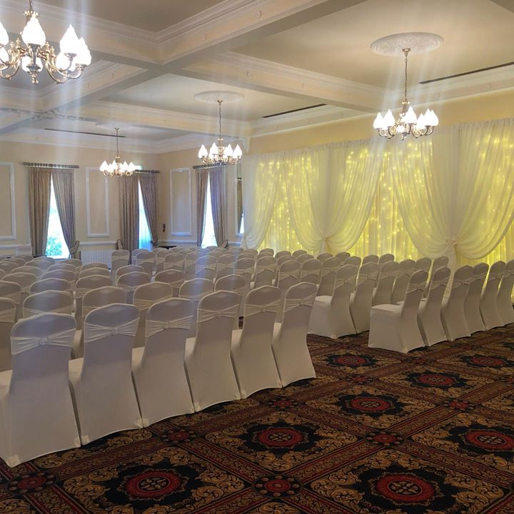 ivory tones, chair covers with diamonte band and fairylight ...